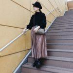 147cmコーデ♡<br>お安プリーツスカートが優秀。