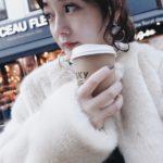 【HUSKY gelato】でコーヒーを。<br>147cmコーデ♡<br>IENAショートニットカーデ